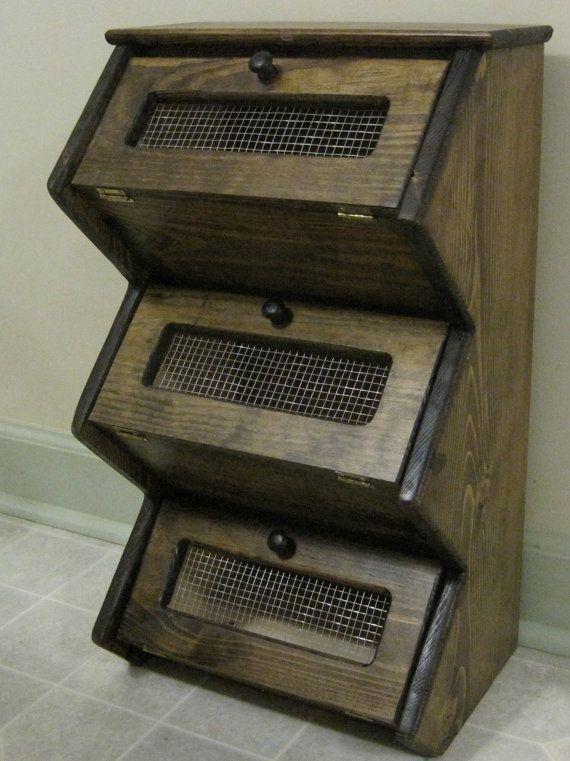 Counter Top Rustic Vegetable Bin Storage Cupboard Primitive Shelf ...