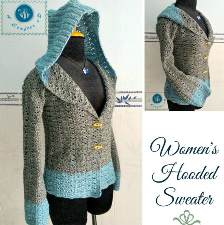 Crochet Hooded Sweater Free Pattern Ideas | Ganchillo, Crochet ...