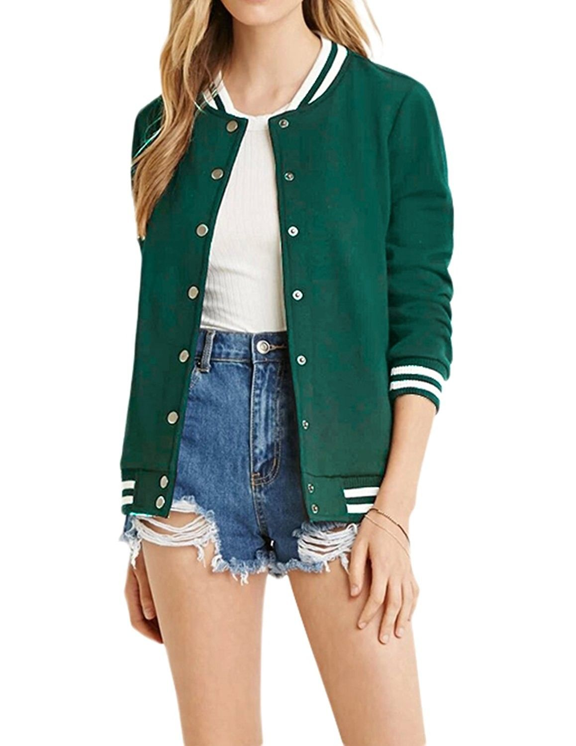 Women S Clothing Coats Jackets Vests Casual Jackets Women S Varsity Ribbed Color Block Long S Jacket Outfit Women Baseball Jacket Women Clothes For Women