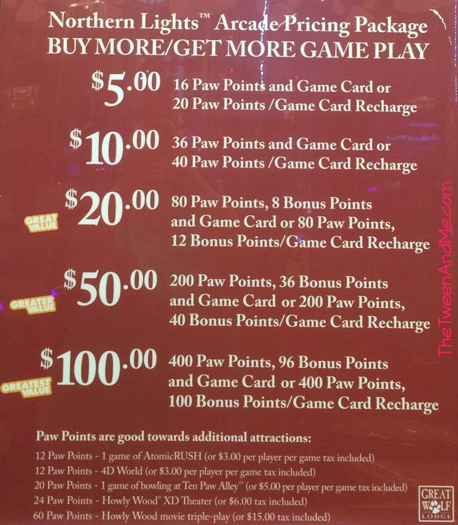 Great Wolf Lodge Northern Lights Arcade Pricing Packages The Tween