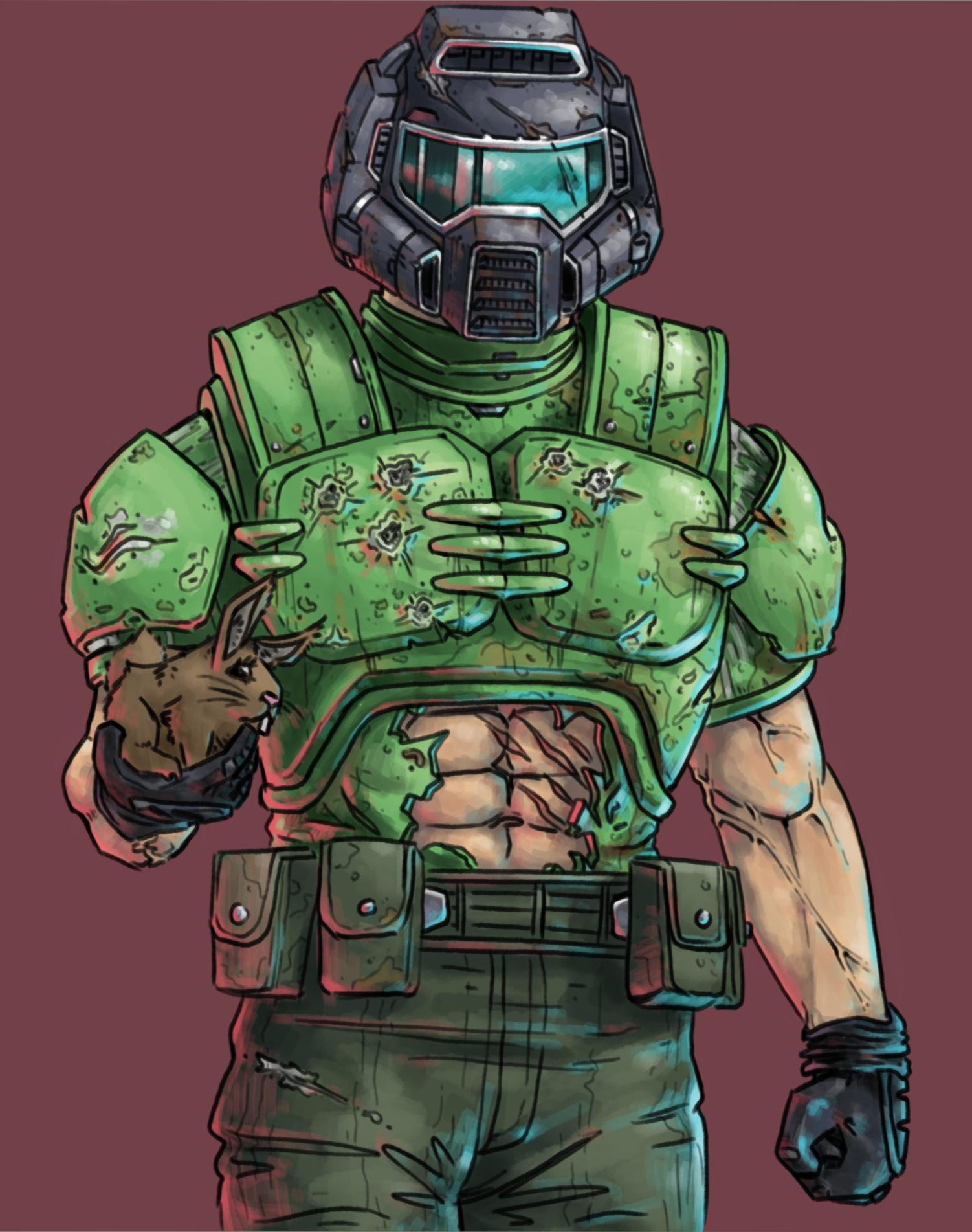 Doomguy And Daisy Fan Art Doom Videogame Slayer Meme Fallout Concept Art
