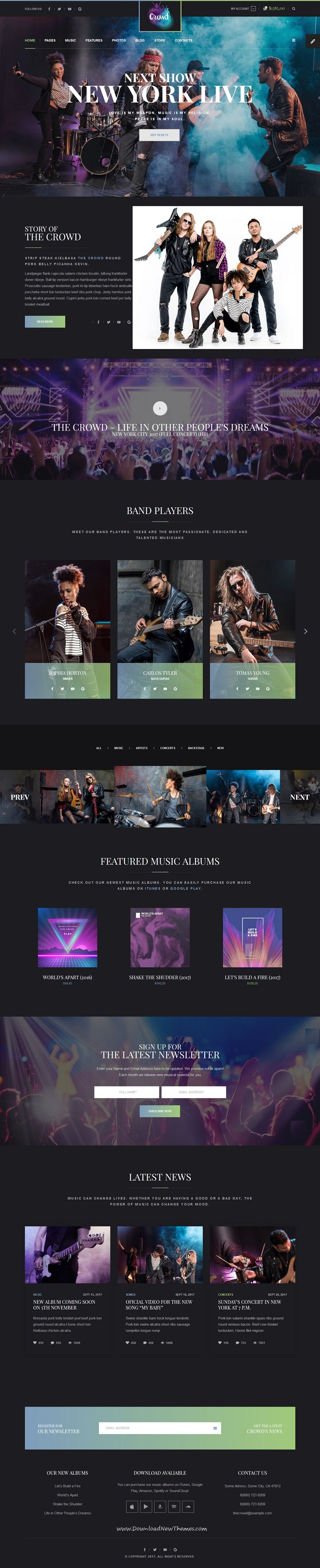 TheCrowd - Rock Band Page HTML Template with Page Builder | Template