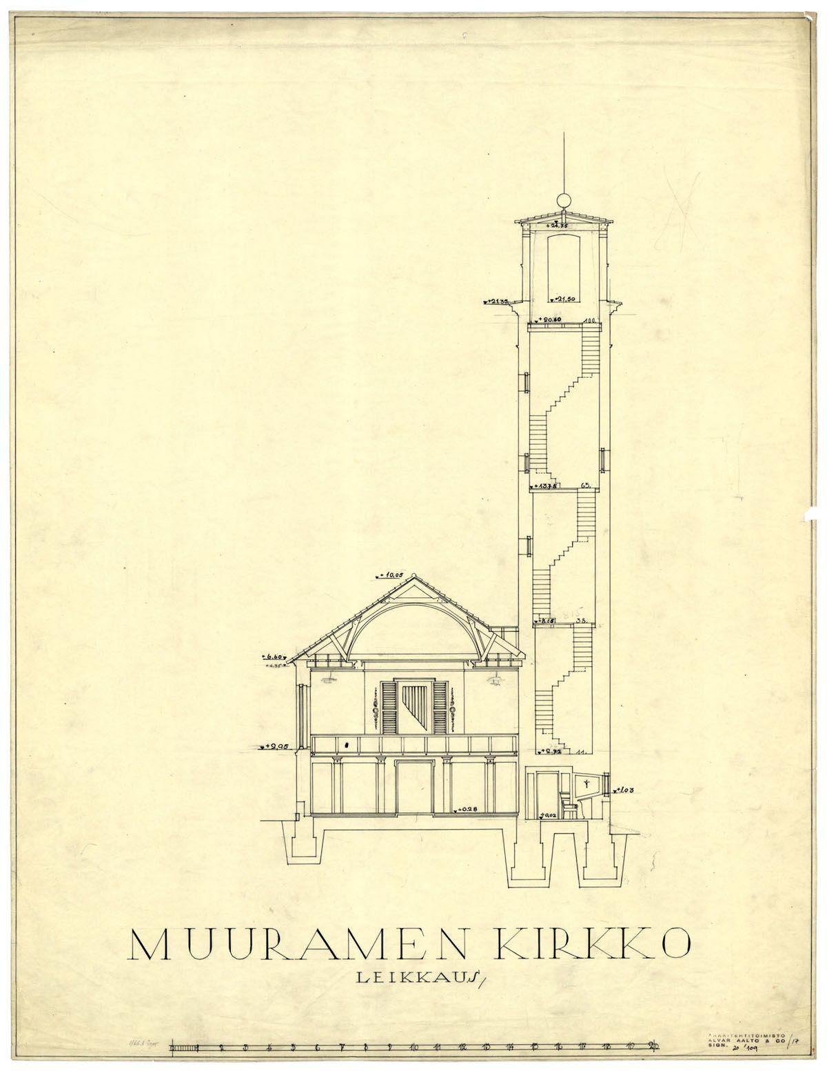 muurame church section alvar aalto 1920 s nordic classicism