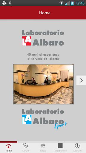 E' disponibile la App Laboratorio Albaro per smartphone e tablet! <p>Scopri la sezione servizi con tutte le prestazioni offerte dal laboratorio di Genova. <p>Nella sezione news novità e aggiornamenti mentre nel modulo Referti on line potrai accedere direttamente all'area riservata per consultare i referti.  http://Mobogenie.com
