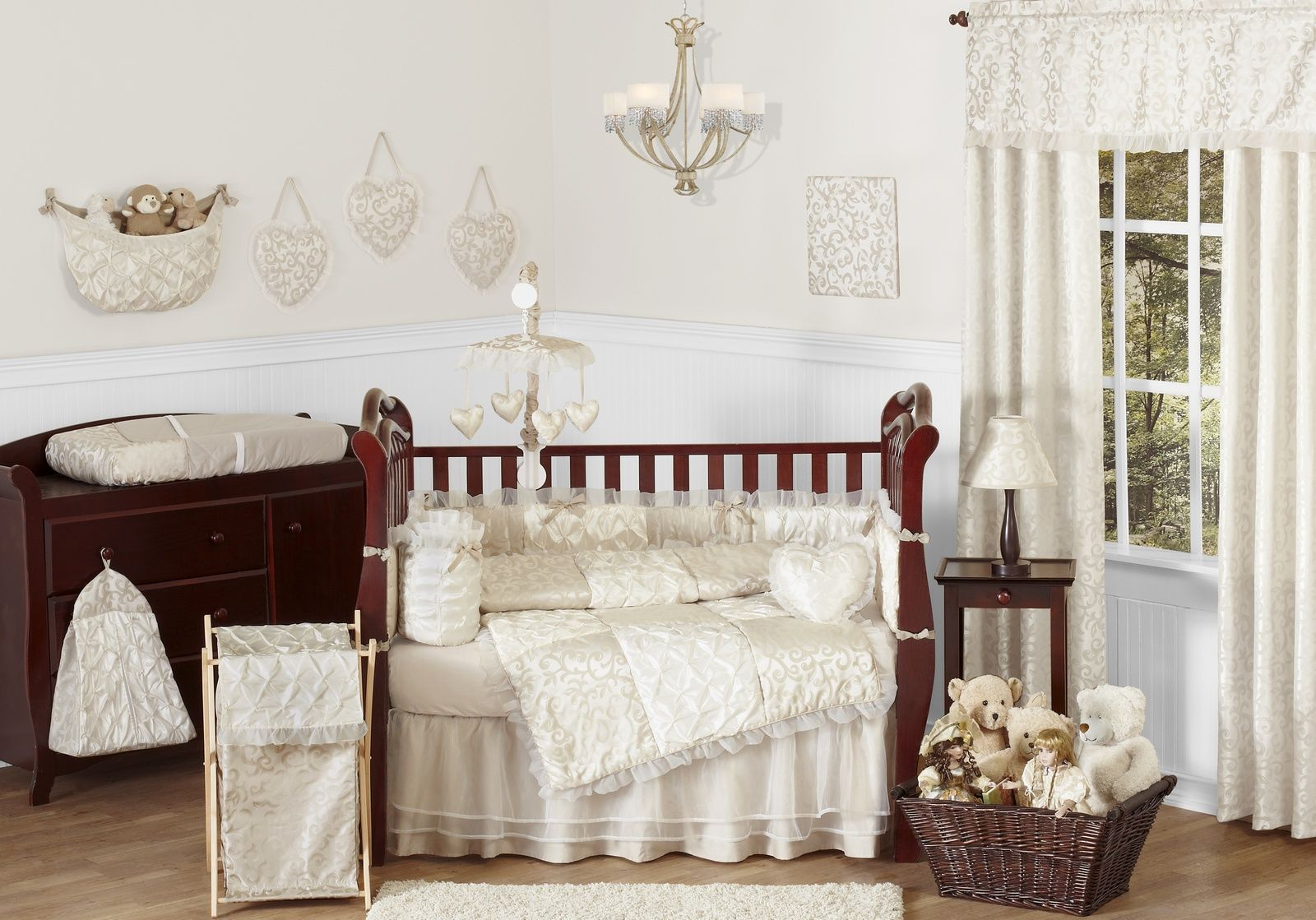 Champagne and Ivory Victoria 9-Piece Baby Crib Bedding Set by Sweet Jojo Designs