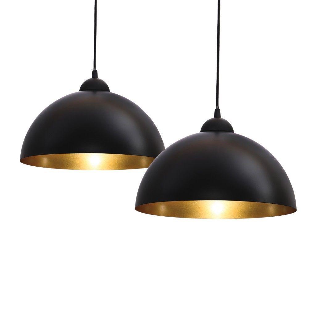2x pendelleuchte schwarz-gold design hänge-leuchte decken