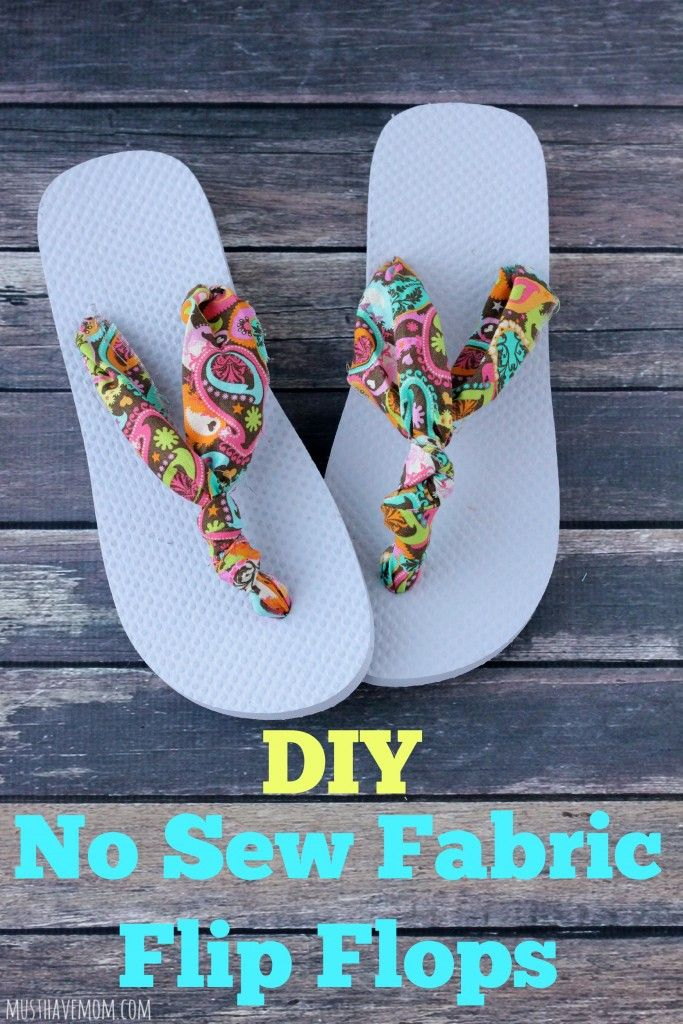 26f454446af1 How To Make The Easiest Ever DIY No Sew Fabric Flip Flops