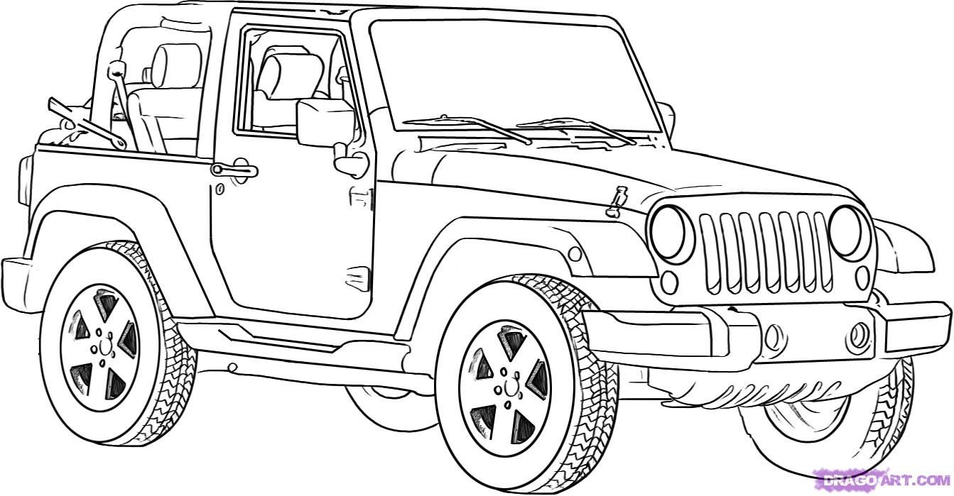 how to draw a jeep wrangler step 19  Jeep drawing, Cars coloring