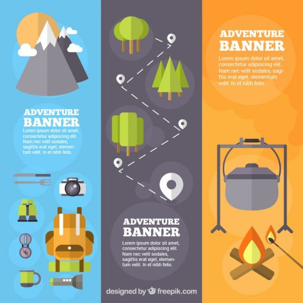 Camping Banner Template Free Vector | Free Resources | Pinterest ...