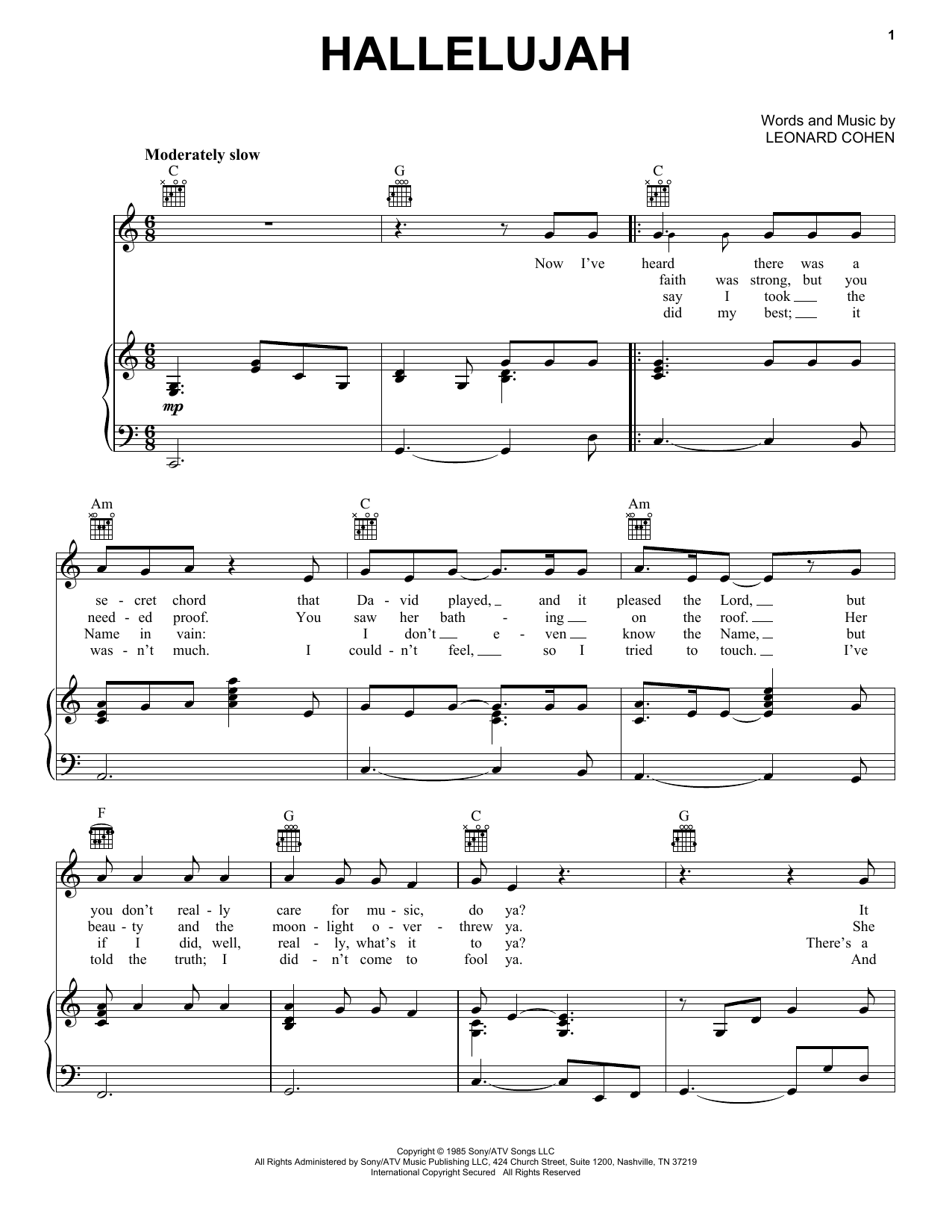 Hallelujah Sheet Music Leonard Cohen Piano Vocal Guitar Right Hand Melody Hallelujah Sheet Music Sheet Music Easy Piano Sheet Music