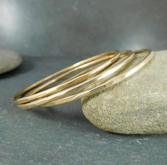 Set of 3 sterling silver bangle bracelets simple bracelet hammered this set of 3 beautiful and elegant 14k gold filled bangle bracelets has been hand formed keyboard keysfo Images