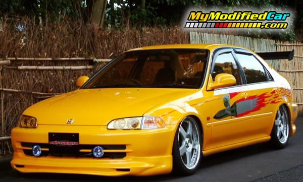 Beautiful Picture Of Honda Civic 95 Customized Yellow Colored Honda Civic Civic Car Honda