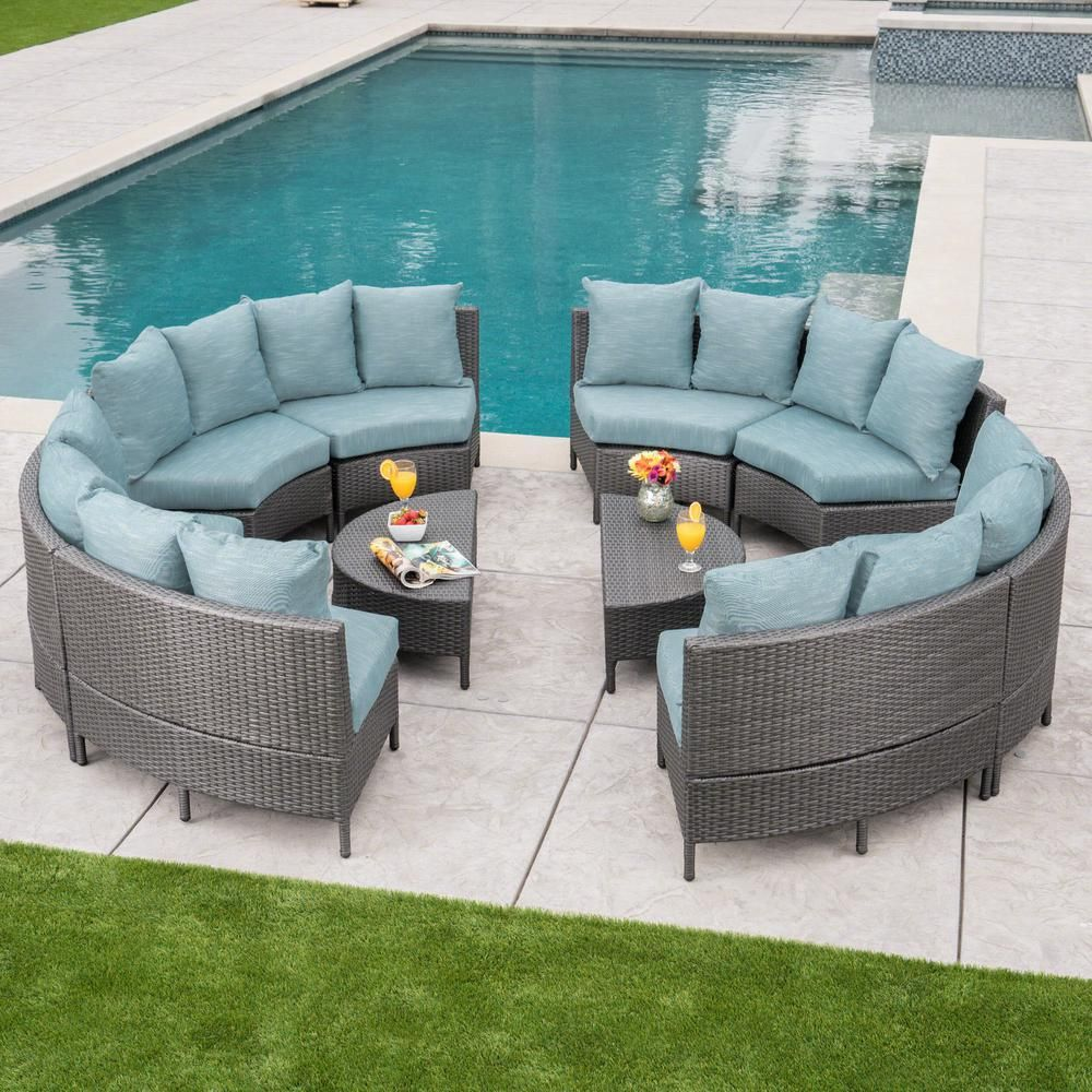 Noble House 10 Piece Wicker Patio Sectional Seating Set With Teal Cushions Outdoor Furniture Sets Patio Furniture Sets Teal Cushions