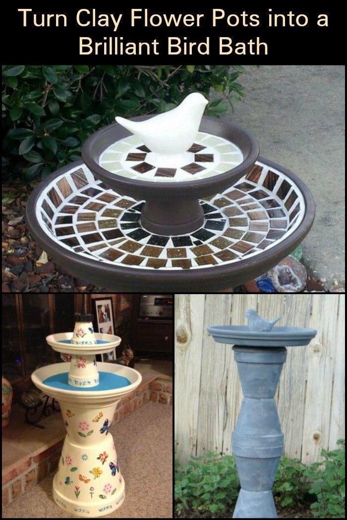 Machen Sie aus Tontöpfen ein Vogelbad und locken Sie so die Tiere in Ihren Garten #flowerpot
