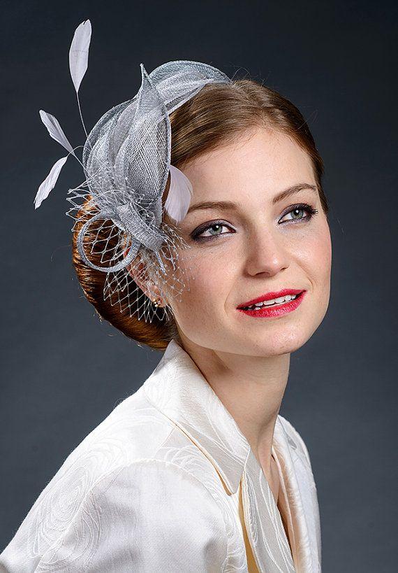 Light grey silver grey wedding fascinator bridal fascinator