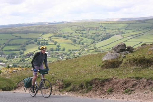 Cycle touring above Widecombe. Photo: KT/Dartmoor NPA