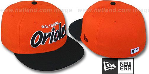 Orioles '2T TEAM-SCRIPT' Orange-Black Fitted Hat by New Era on hatland.com