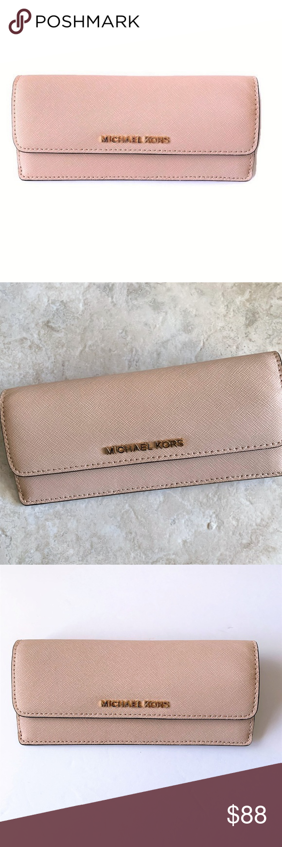 eae8ed9ce1f7 Michael Kors Flat Wallet ~ BALLET Pink Leather NWT Michael Kors Jet Set  Travel Flat Wallet