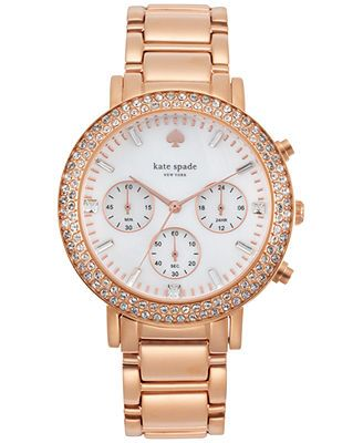 Kate Spade New York Women S Chronograph Gramercy Grand Rose Gold Tone Stainless Steel Bracelet Watch 38mm 1yru0648