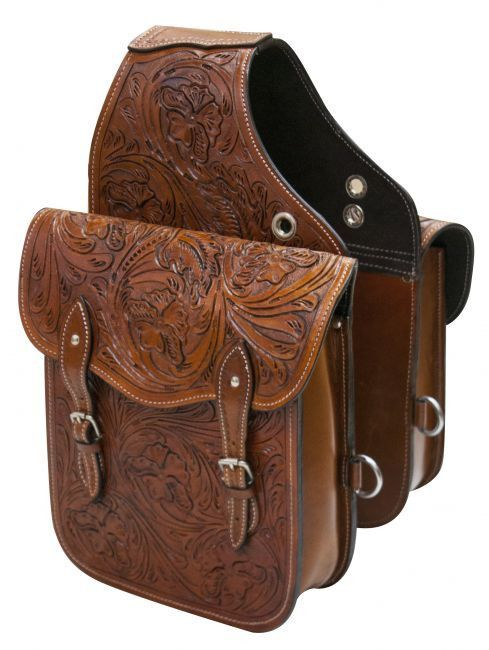 Showman Tooled Leather Saddle Bag Western Horse Saddles Tack Style
