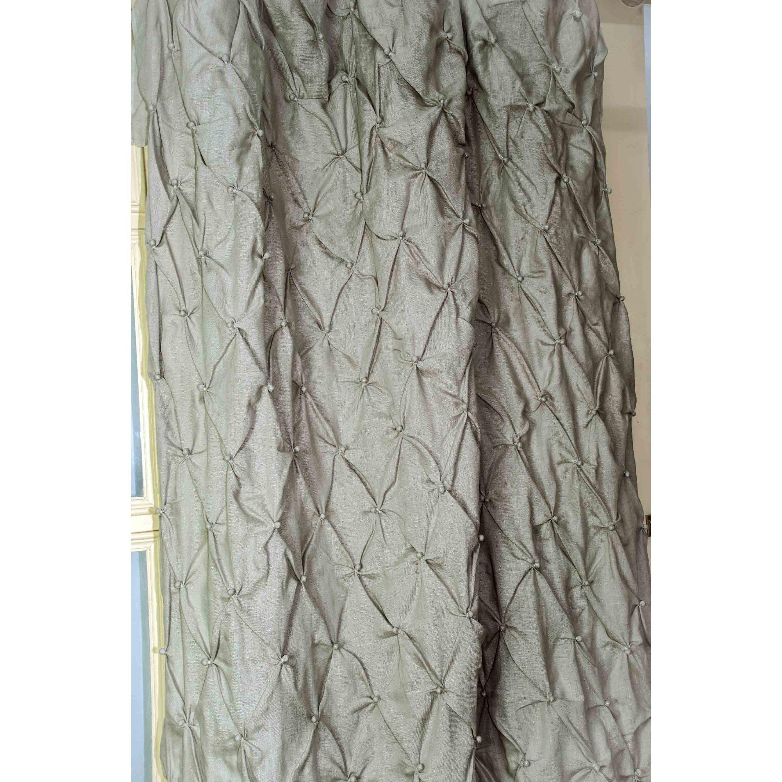 Linen Hand Knotted Curtain Panel Drape Item No D3 SAMZ XOMB
