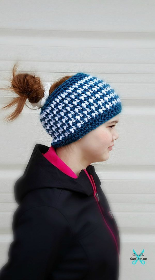 This & That Messy Bun Hat, free crochet pattern by Mistie Bush on ...