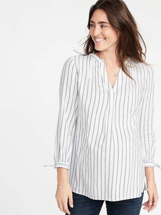 6660d12bd5d Old Navy Women's Maternity Tie-Cuff Striped Twill Tunic White Stripe ...