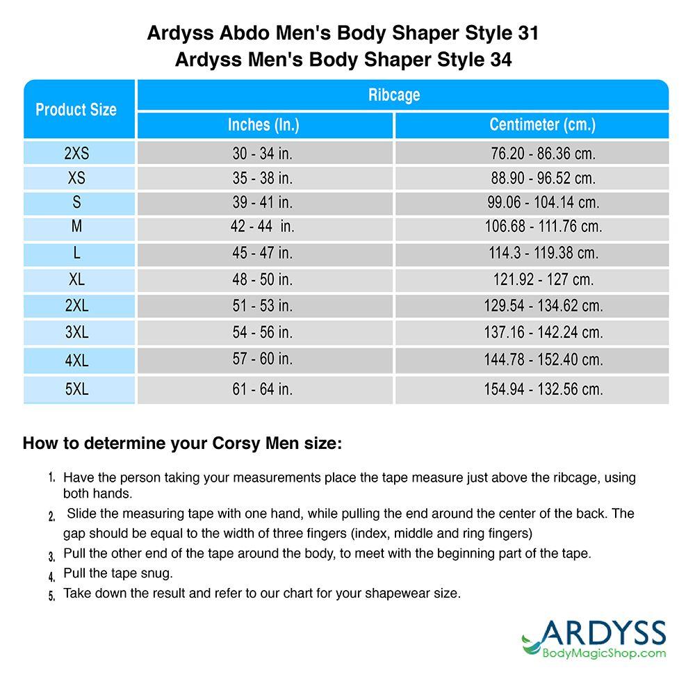 65f7a79835 Sizing chart for  - Ardyss Abdo Men s Body Shaper Style 31 - Ardyss Men s  Body Shaper Style 34