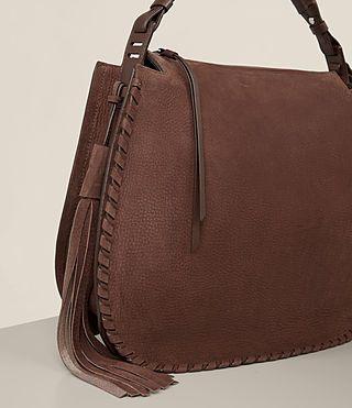 525bfb7390f26 ALLSAINTS UK  Womens Mori Nubuck Hobo Bag (Chocolate Brown)