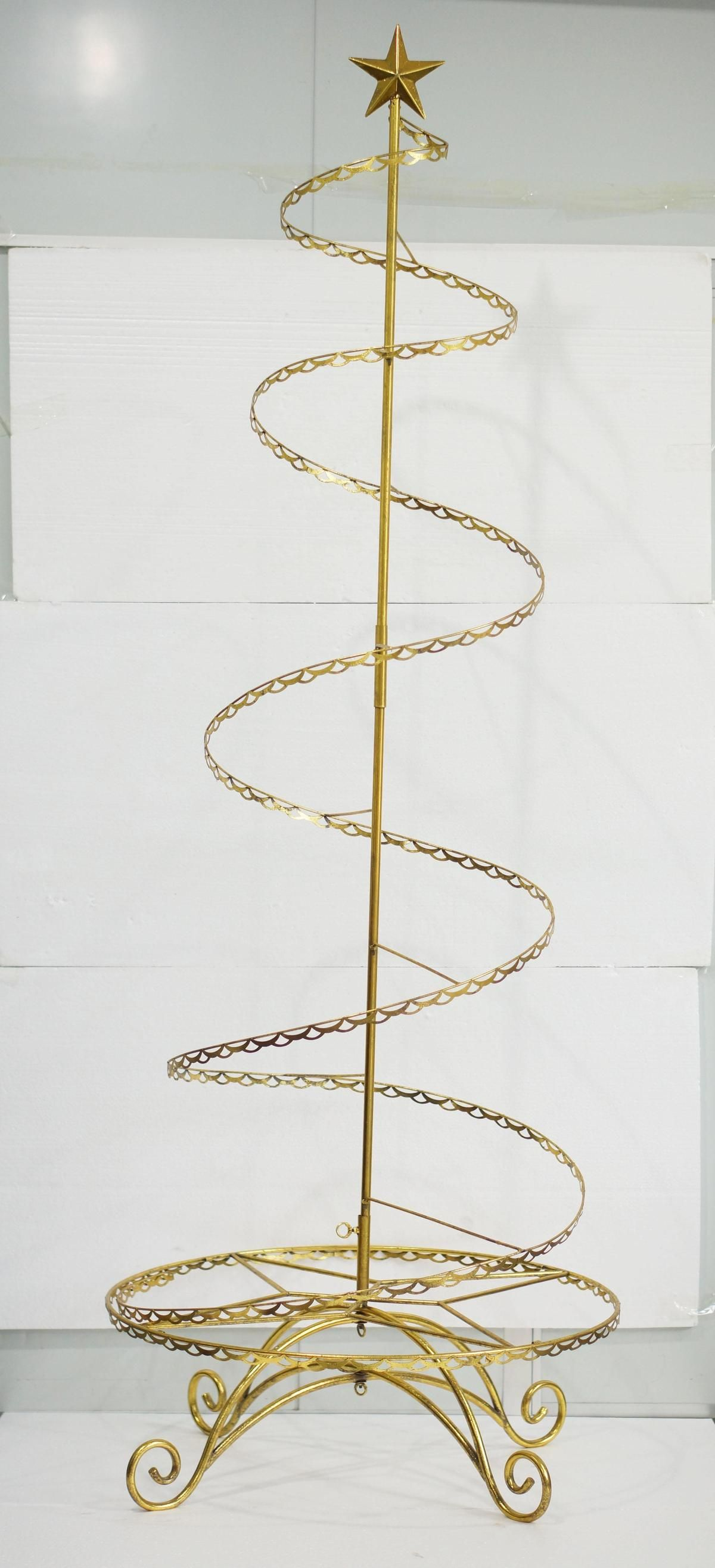 Gold Spiral Wire Ornament Tree In 2020 Wire Ornaments Ornament Tree Display Ornament Display