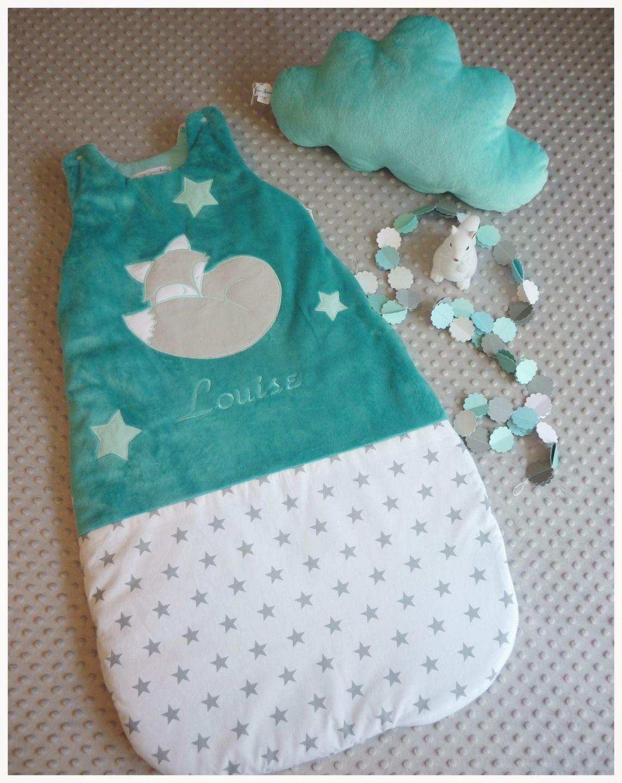 gigoteuse 6 24 mois renard bleu et grise etoile mode b b par les petits gosses miniatures. Black Bedroom Furniture Sets. Home Design Ideas