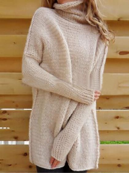 5821b2211cefd9 Chicnico Fashion Turtleneck Long Sleeve Loose Fit Pullover Sweater ...