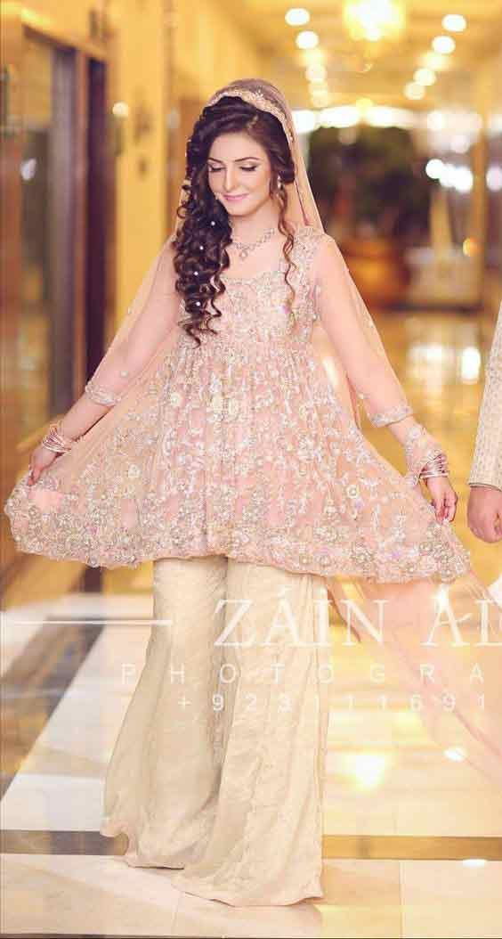 Pink Short Frock With Off White Sharara For Engagement -7824