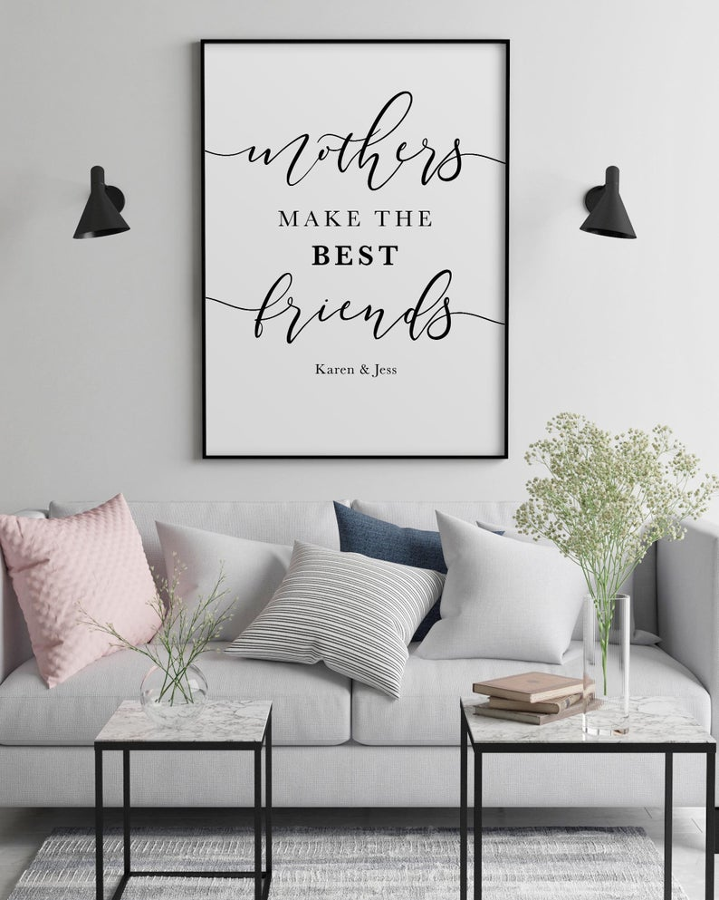 Mothers Day Gift Birthday Gift For Mom Mum Wall Art Print Cheap Thoughtful Quote Mother Appreciation Best Friend Present Grey And Pink Living Room Living Room Art Pink Living Room