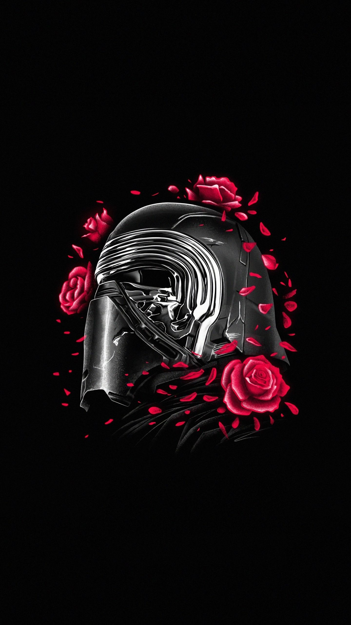 1440x2560 Kylo Ren, helmet and roses, Star Wars, minimal