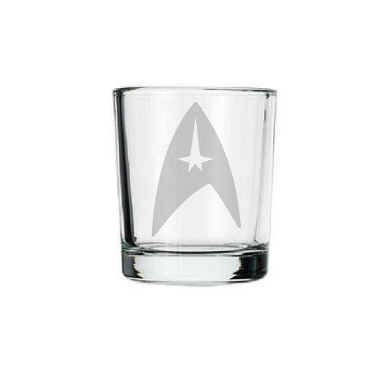 Star Trek symbol logo shot glass Trekkie gift Star by GlassCannons