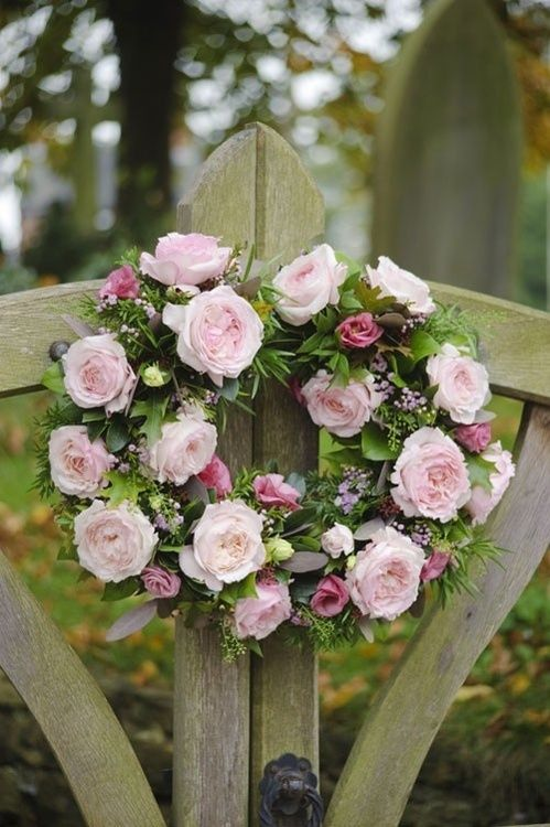 This unusual split gate wreath sets the scene for a country wedding, welcoming guests as they arrive at the church ~ 'Keira' ~ David Austin rose