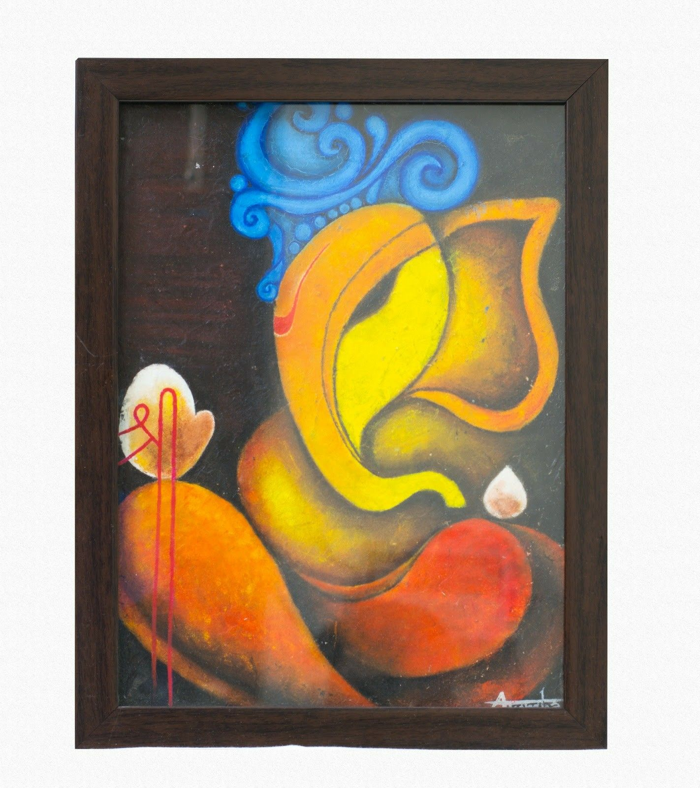 Indian God Lord Ganesha Oil Painting