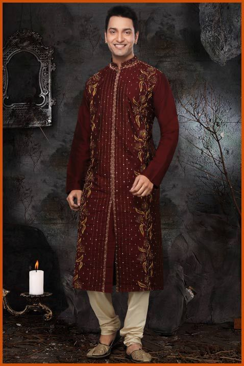 Maroon Cotton Silk Readymade Kurta with Churidar Online Shopping: MKA152