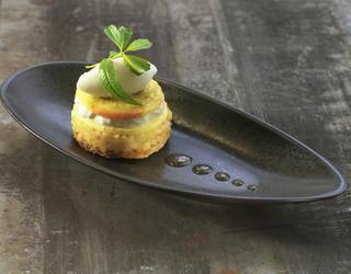 Recette - Sablé pomme Jazz et miel de Manuka, crème et sorbet au yaourt