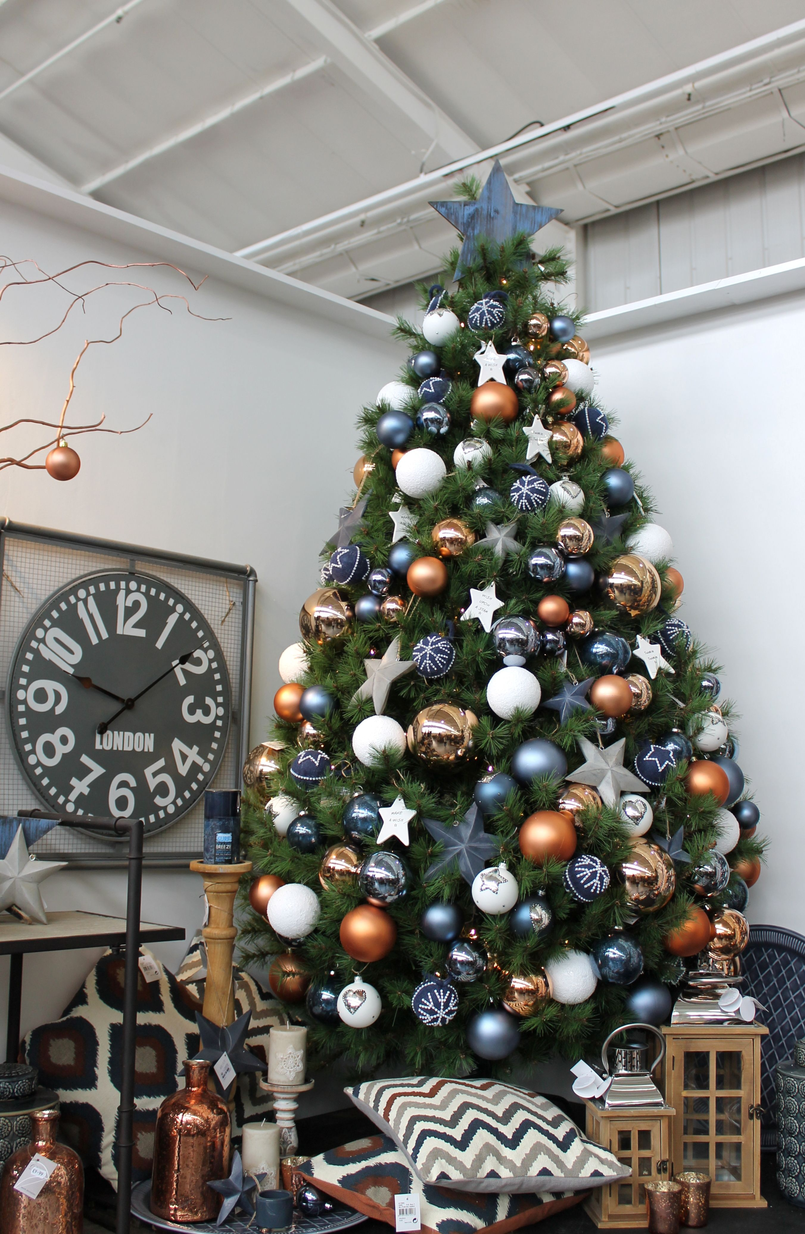 Blue White And Copper Christmas Tree Design Decorated