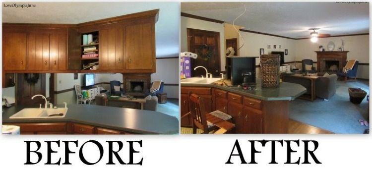 removing upper cabinets | Floating cabinets, Upper kitchen ...