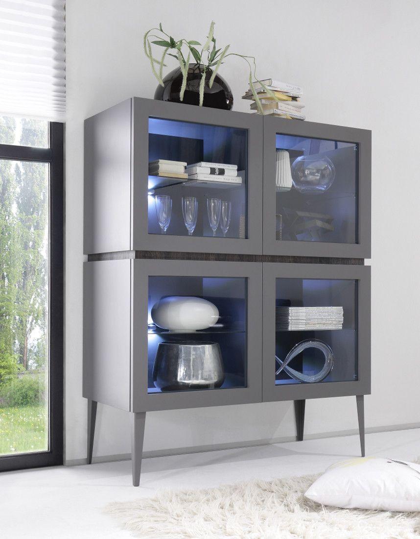 Vetrina moderna grigio opaco con gambe a #spillo. Questa vetrina ...