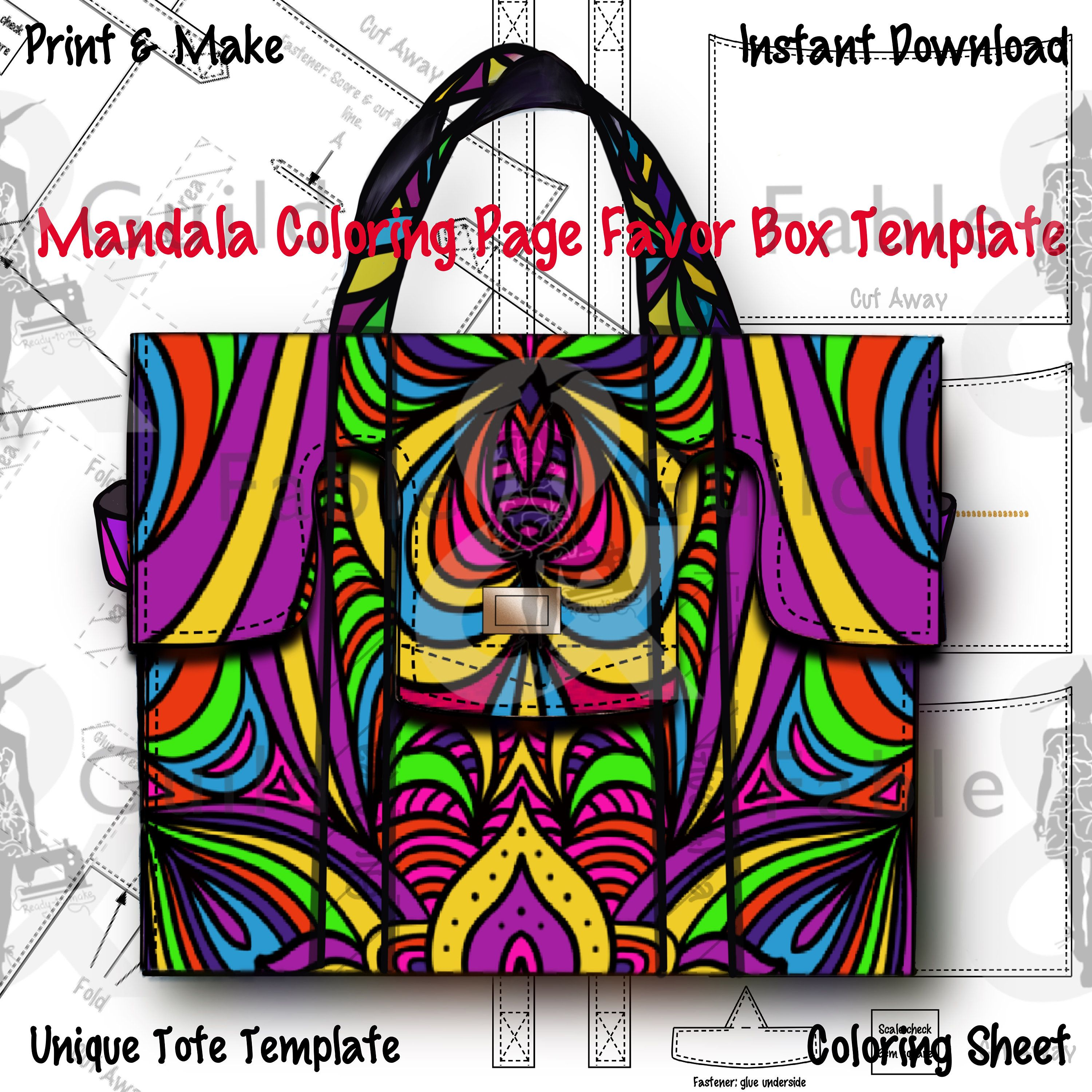 Mandala Coloring Page Favor Box Tote Purse Gift Card Template Hen