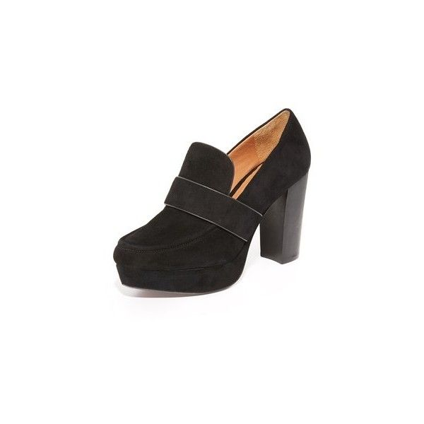 Derek Lam 10 Crosby Sienna Platform Loafers (£290) ❤ liked on Polyvore featuring shoes, loafers, black, black strappy shoes, black loafers, black leather loafers, strappy shoes and black leather shoes