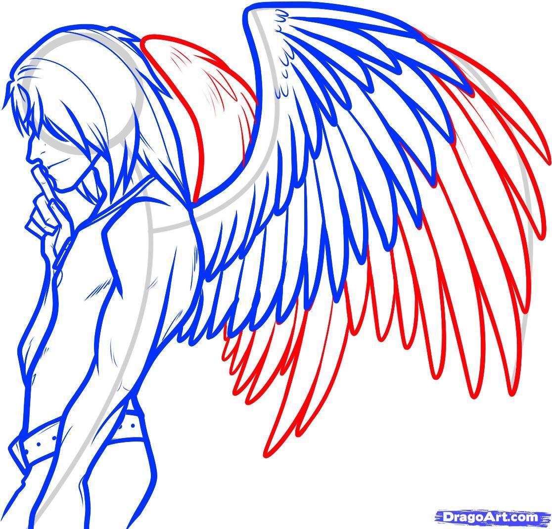 How to Draw an Angel Boy, Angel Man, Step by Step, Fantasy