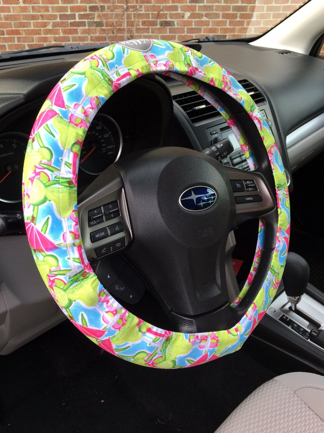 Lilly Inspired Monogrammed Steering Wheel Cover Margarita Mixer Personalized Custom Monogram Padded Insulated