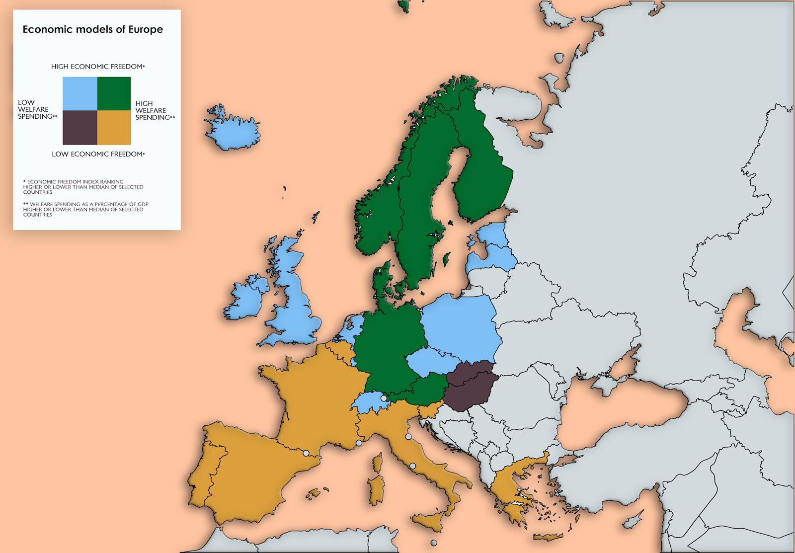 Economic Models Of Europe Vivid Maps Economic Model Map Diagram Europe Map