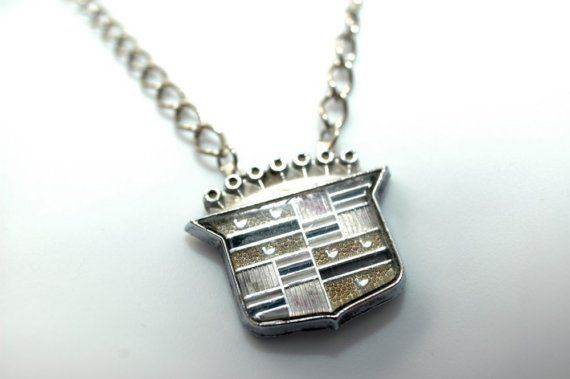 cee34f4a2131 Recycled Car Part Cadillac Emblem Necklace by hioctanejewelry, $55.00