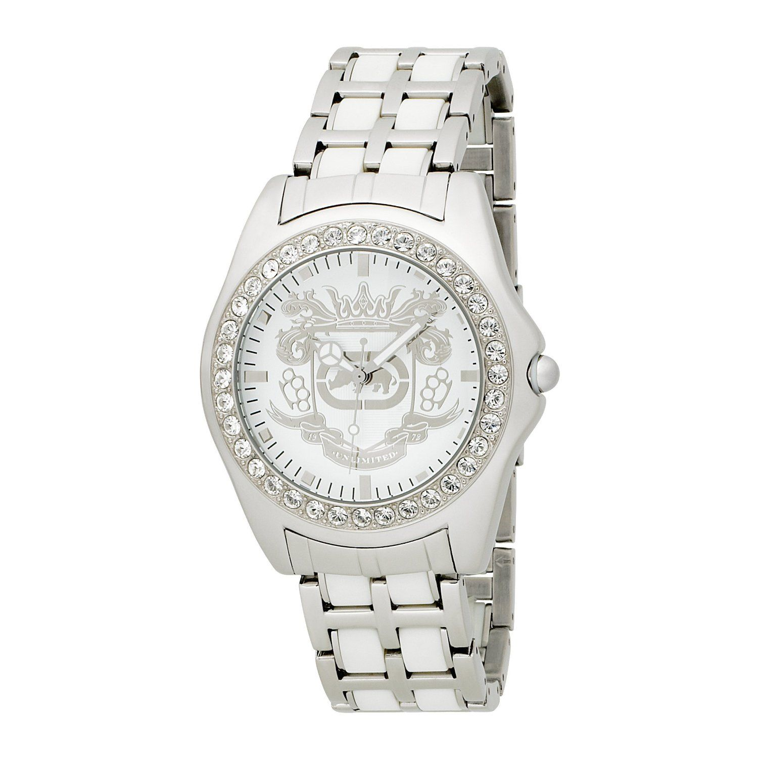 Marc Ecko Men's E95016G6 White Dial Bracelet Watch - Studly shine by Marc Ecko. Watch features a stainless steel bracelet and round case. Swarovski crystal-accented bezel. White dial with etched crest and silvertone stick indices. Quartz movement. Water resistant to 50 meters.